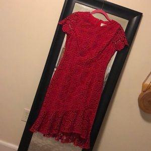 Eliza J red short sleeve floral lace dress size 4